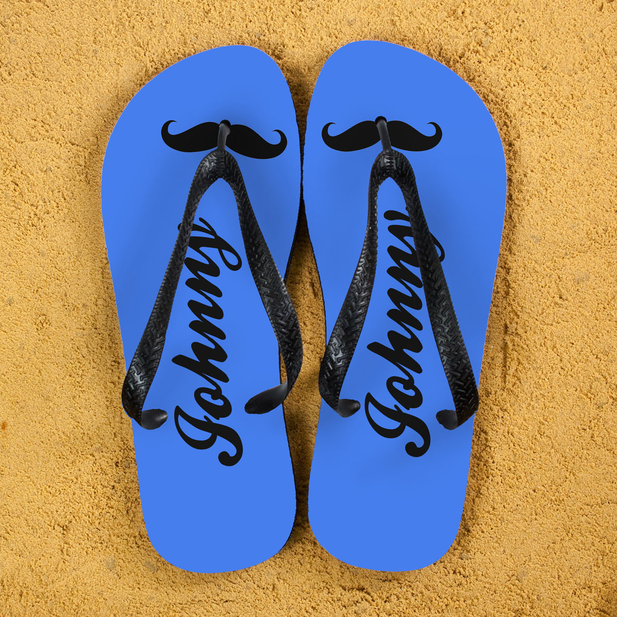Moustache Style Personalised Flip Flops in Royal Blue
