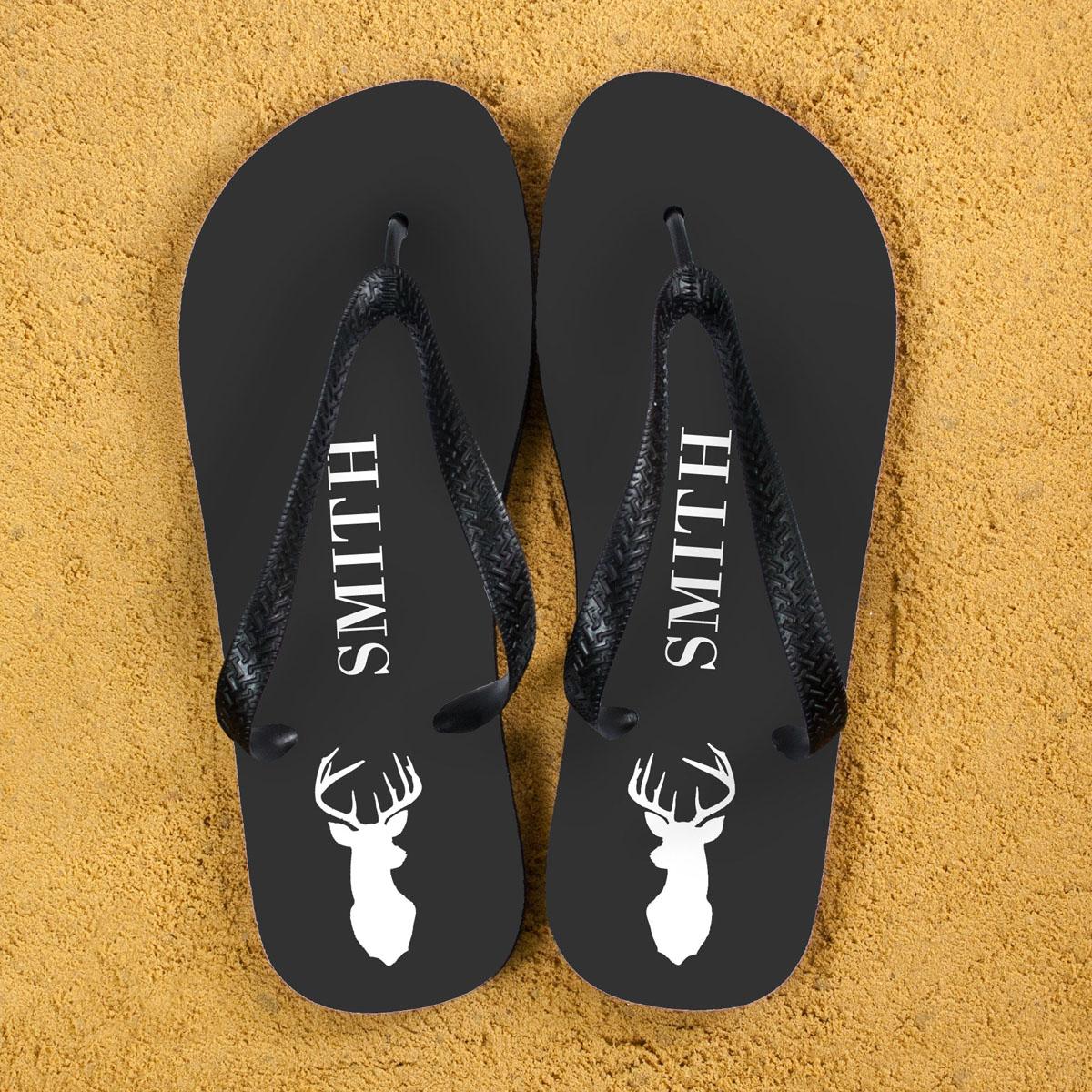 Stag Personalised Flip Flops in Grey