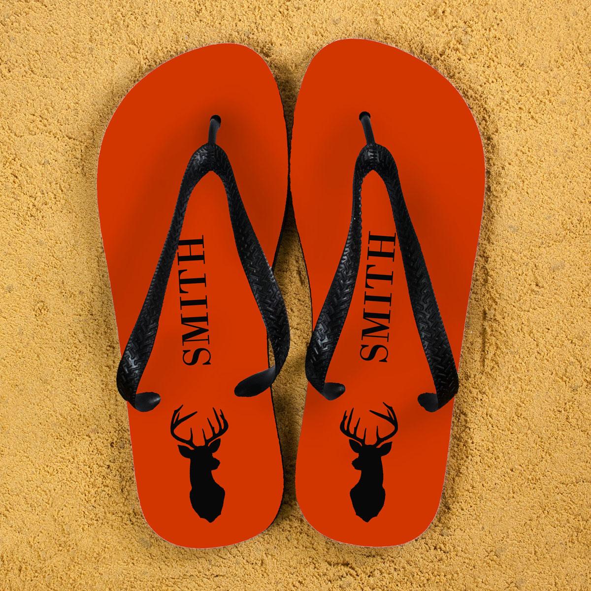 Stag Personalised Flip Flops in Orange